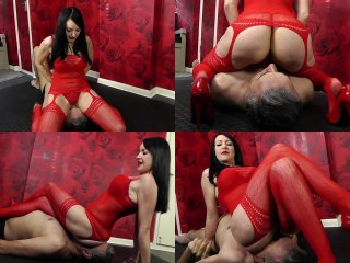 Red bodystocking facesitting